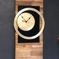 Solid Acacia Timber  and Genuine Brass and Matte Black Wall Clock