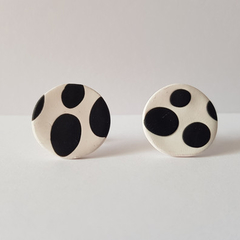 Handmade stud earrings \\ white with black spots \\ statement earrings