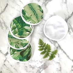 Set of 5 eco friendly reusable face wipes / makeup remover wipes green leaf
