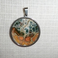 Pendant,necklace, hand painted  round bezel