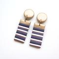 Metallic gold stripe Rectangle drop polymer clay earrings