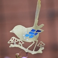 Fairy Wren with Mushrooms Garden Decoration