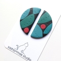 Semi Circle Mid century modern polymer clay earrings