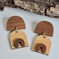Stylish & Sustainable Bamboo & Walnut Wooden Earrings