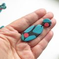Mid century modern Oval drop polymer clay earrings