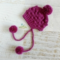Boysenberry Crochet Newborn Brimmed Bobble Baby Beanie Bonnet with Pompom