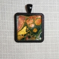 Pendant, necklace, hand painted,  square bezel