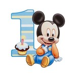 1st Birthday edible cake topper, baby mickey mouse