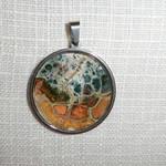 Pendant,necklace, hand painted  round bezel