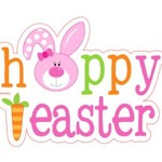 Happy easter edible cake topper, easter bunny