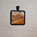 Pendant, necklace hand painted,  square bezel