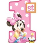 1st Birthday edible cake topper, baby Minnie Mouse