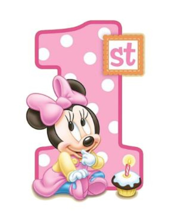 Fine 1St Birthday Edible Cake Topper Baby Minnie Mouse Huckleberry Funny Birthday Cards Online Elaedamsfinfo