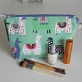 Green llama zippered pouch make up bag