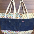 Everyday Bucket Bag, Funky Bird print with Denim detail