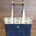 Everyday Bucket Bag, Funky Bird print with Denim detail