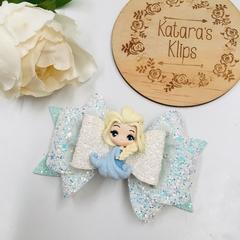 Deluxe Princess Elsa Clay Hair Bow , Birthday Bow