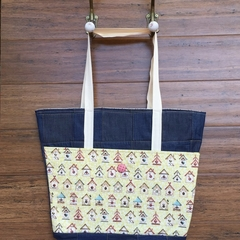 Everyday Bucket Bag, Denim with Bird House print