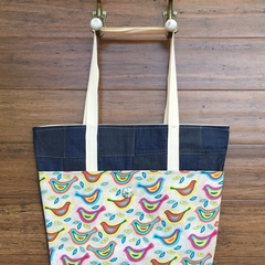 Everyday Bucket Bag, Denim with Funky Bird Print