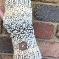 Stunning cream fingerless gloves handwarmers grey mens or ladies texting glove