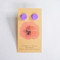Purple polymer clay stud earrings