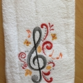 """Music and Butterflies "" Embroidered Towel"
