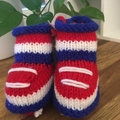 Baby Footy Bootees- Red, White & Blue