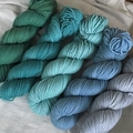'Faded Jeans' 5ply hand dyed superfine merino yarn 100g/ 340m
