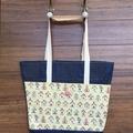 Everyday Bucket Bag, Denim with Bird House print