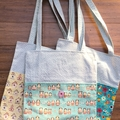 Upcycle & Recycle Tote, Bird House Print