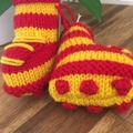 Baby Footy Bootees- Red & Yellow