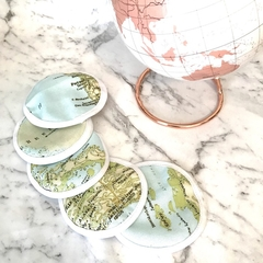Set of 5 eco friendly reusable face wipes / makeup remover wipes world map