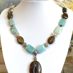 Natural BOULDER OPAL & TOPAZ Sterling Silver Pendant on AMAZONITE Necklace.
