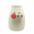Double Sided Earrings - Fabric Button Kimono Floral with Polka Dots