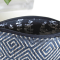 Navy blue and silver zippered bag