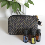 Navy blue and gold chevron zippered pouch