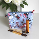 Blue and pink feather waterproof make up bag