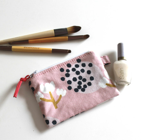 Pink floral modern coin pouch or purse