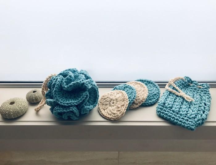 Crochet Spa Set Face Scrubbies Soap Saver Bath Pouf Organic Cotton