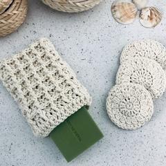 Crochet Bath Set Face Scrubbies Soap Bag 100 % Cotton Mother's Day