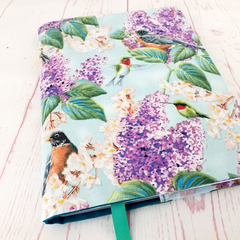 Birds on Lilacs A5 Fabric Journal Notebook Diary Cover