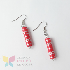 Paper Bead Red Earrings