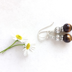 Tiger Eye Gemstone & Tibetan Bead Earrings, Unique Gift, Vintage Style