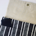 MacBook or laptop sleeve in black and white striped eco canvas