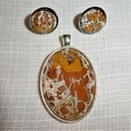 Pendant and earring set, necklace,hand painted, round bezel.