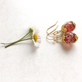 Red,Gold Sand Glass Bead Earrings