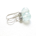 Ice Blue Brazilian Aquamarine Gemstone & Sterling Silver Earrings, Unique Gift