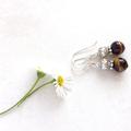Tiger Eye Gemstone & Tibetan Bead Earrings, Unique Gift, Vintage Style
