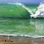 The Wave ACEO, Miniature Painting, Original Seascape acrylic painting, Beach,Sea