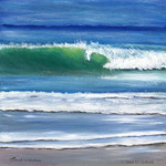 Summer Waves, Original Acrylic Seascape painting,  Sea, Ocean, Beach Art